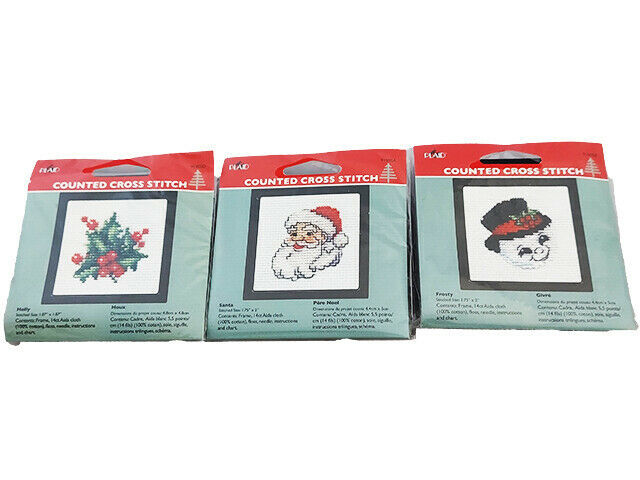 Plaid Counted Cross Stitch Kit With Frame, Set of 3