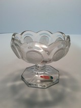 "Vintage Fostoria Frosted Coin Clear Glass Sherbet Dish 4.5""x3.5"" (height) - $6.27"