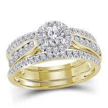 14kt Yellow Gold Round Diamond 3-Piece Bridal Wedding Engagement Ring Set - $1,602.55