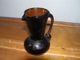 Vintage Small Thick Brown Crackle Glass Pitcher Creamer Vase – 4 inches ... - $7.69