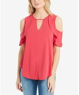 JESSICA SIMPSON Pearlina Keyhole-neck Ruffled Cold-Shoulder Knit Top NWT... - $8.75