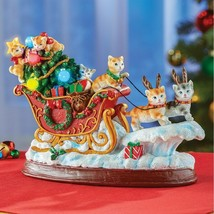 Holiday Lighted Kitty's on Santa Sleigh Decorative Cat Christmas Figurine - $21.78