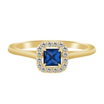 1.20 Ct Blue Sapphire & Diamond 10k Yellow Gold Over Halo Solitaire Wedd... - $79.99