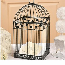 Black Metal Wedding Bird Cage Gift Card Holder Beautiful Wedding Money Box - $34.36