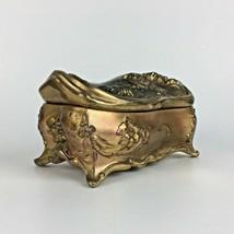 Antique Victorian Bird Flowers Jewelry Casket Box Gold Gilt Silk Lined N... - $59.35