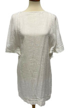 Lauren Ralph Lauren women's mini dress blouse white linen short sleeve s... - $21.77