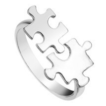 Kinitial Gold Silver Plated Unique Toy Brick Jigsaw Puzzle Ring Open Adj... - $7.99