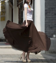 Women Chiffon Maxi Skirt Black White Brown Maxi Skirts Wedding Chiffon Skirt image 2