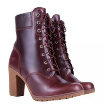 """TIMBERLAND WOMEN'S GLANCY 6-INCH BOOTS Dark Brown Smooth Leather 3"""" Heel... - $93.49"""