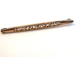 Victorian Gold Tone Bar Brooch - $24.74