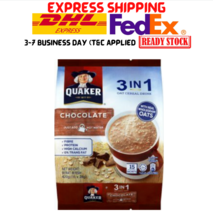 10 Packs Quaker Oats 3 In 1 Oat Cereal Drink Chocolate Flavor 15's X 28g Halal - $129.90
