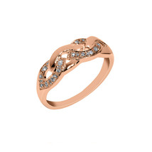 0.13 Cts Round Cut Sim Diamond Twist Anniversary Ring In 14KT Rose Gold PL - $121.83