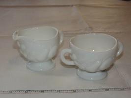 Milk glass Creamer and sugar bowl Set clear glass sugar bowl has tiny chip - $21.37