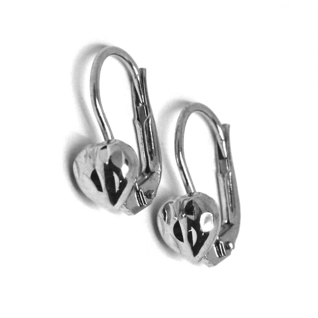 18K WHITE GOLD KIDS EARRINGS, HAMMERED HEART, LEVERBACK CLOSURE, ITALY MADE
