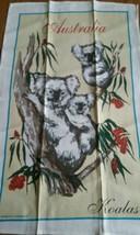 UNUSED VINTAGE LINEN COTTON PRINT KITCHEN TOWEL ~ AUSTRALIA SOUVENIR ~ K... - $8.90