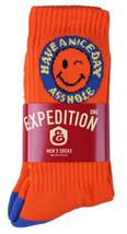 1 Pair Expedition Skate Patches Orange Royal Have a Nice Day A-hole Crew Socks image 2