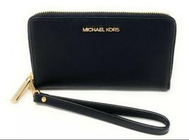 Michael Kors Jet Set Travel Wallet /Phone Holder In Black And Gold - $67.72