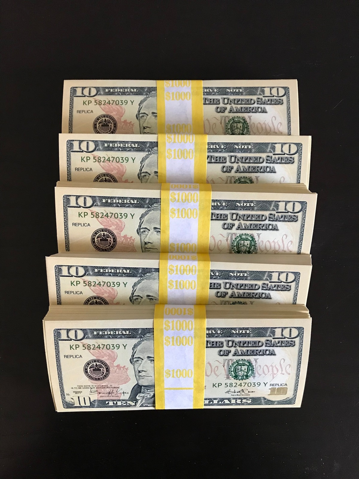 1.000 PROP MONEY REPLICA 10s All Full Print For Movie Video Films etc. image 4