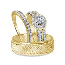 Round Cut White Sim Diamond 14K Gold Fn. 925 Silver Engagement Trio Ring Set - $147.99