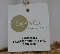 Sage Company XAO13688TA Silvered Torn Linen Ball Ornament 7 inches image 4