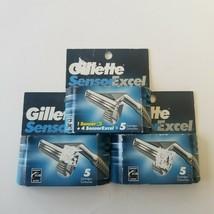 Gillette Sensor Excel Razor Blades Cartridges Men Refill Lot of 3 New Sh... - $27.08