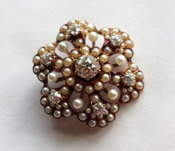 Antique, Gold Victorian Diamond and Pearl Rosette Brooch, Pin - Pendant - $950.00