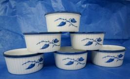 """Set of 6 Rosenthal 3-1/8"""" Ramekins 4oz Blue Leaves Trim R432 R/2 Kronach... - $34.65"""