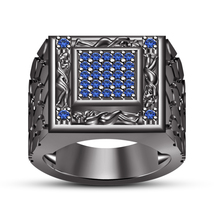 Round Cut Blue Sapphire 14k Black Rhodium Finish 925 Silver Men's Kamasutra Ring - $138.90