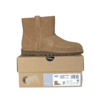 New Ugg Australia Womens Size 7 Classic Unlined Perforated Mini Boots Brown - £87.39 GBP