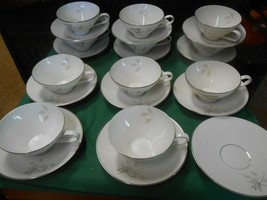 ROSENTHAL Germany PEACH BROWN-GRAY ROSE .....11 CUPS & SAUCERS & 1 FREE ... - $88.69