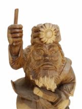 "Vintage 12"" Wood Hand Carved Signed Asian Figurine Statue Figure Carving image 2"