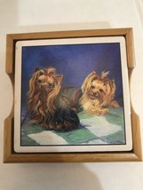 Yorkshire Terrier Yorker Coasters Absorbent Stone w/Cork Back In Wooden ... - $13.46