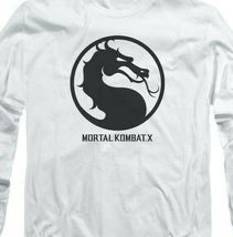 Mortal Combat X logo symbol graphic long sleeve white adult t-shirt WBM416 image 3