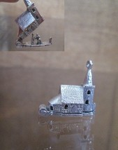 Sterling Silver Bracelet Charm WEDDING CHAPEL, 1940s Church Opens to Cer... - $54.45