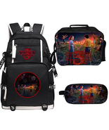 WM Stranger Things Season 3 Backpack Lunch Box Pencil Case Large Black A - $53.99