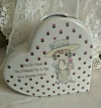 "Enesco Precious Moments Ceramic Heart Vase 4 1/4"" Friendship 1987 - $12.60"