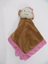 "Tiddliwinks Monkey Heart Nose Plush Security Blanket Lovey Brown w Pink Trim 13"" - $13.85"