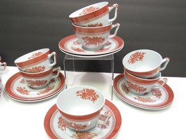 "Set of 7 Spode Fitzhugh Large Coffee Cups and Saucers Red 4"" x 3"" - $99.00"