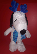 New Peanuts Snoopy Doll Porch Door Greeter Christmas w/ Antlers Snowflake Scarf - $24.70