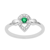 Green and White Cubic Zircon 925 Sterling Silver Women Wedding Ring - $8.61