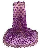 Purple Swiss Voile Lace Fabric 3D Applique African Style High Quality Tu... - $75.04