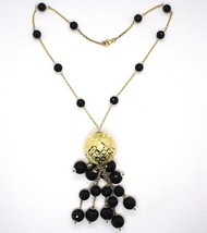 Silver necklace 925, Yellow, Large Machined Ball, BLACK ONYX Waterfall image 2