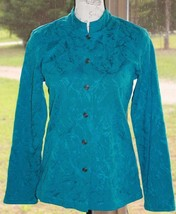 Chico's Size 0 Additions Jacket Teal Blue Textured Floral Button Front (BY) - $23.74
