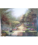 Homco Home Interior Garden Path Picture With Trees Flowers and Sidewalk ... - $135.00