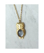 1970s Vintage OWL Pendant Necklace Green Glass Belly Body Cabochon - $19.00