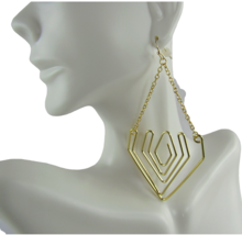 Mia Fashion Jewelry Faux Gold Open Triangular Drop Chain Earrings - Lot of 12 - $32.91