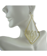 Mia Fashion Jewelry Faux Gold Open Triangular Drop Chain Earrings - Lot ... - $32.91