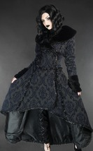 Blue Black Evil Queen Brocade Gothic Victorian Winter Long Corset-Back S... - $168.77