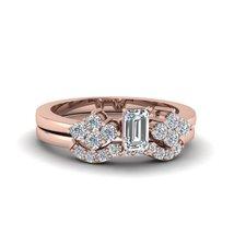 White Diamond Emerald Cut Beautiful Womens Anniversary Ring Solid 14k Rose Gold  - $439.99
