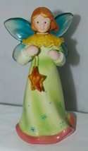 Dicksons Christmas Angel Green Dress Holding Star 6 Inches - $17.08
